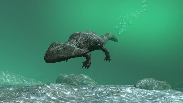 3d illustration of a Diplocaulus underwater