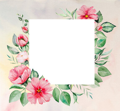 Watercolor pink flowers and green leaves frame card illustration
