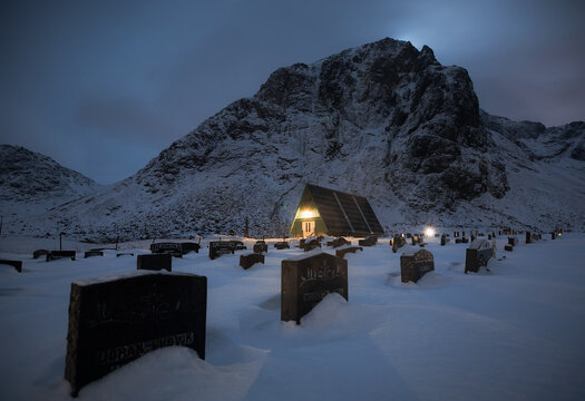 Cemetery at dusk in the Lofoten Islands