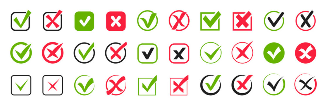 Check mark icon set. Green check marks and red crosses. Tick and cross icons. Accepted or rejected, true or false, right or wrong, yes or no signs. Checkbox icons. Vector illustration.