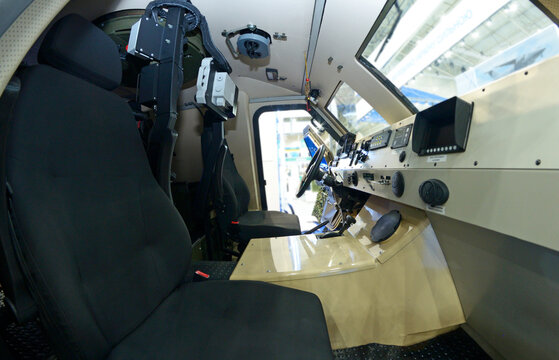 Interior of a new armored medical evacuation vehicle, made in Ukraine