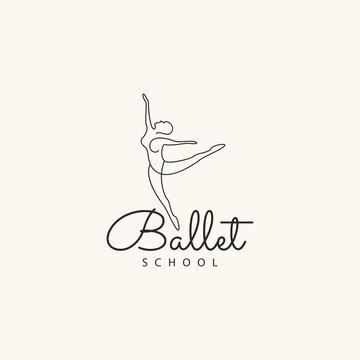 Ballet school logo line outline art dance