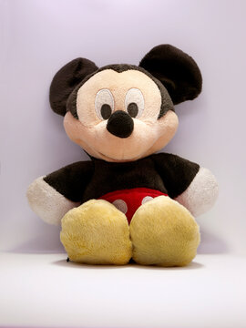 Mickey Mouse plush doll. Soft toy for children. Mickey Mouse is a cartoon character from Walt Disney Pictures Studios. Mickey is Minnie Mouse's boyfriend. Mickey Mouse's house. Classic Mickey.