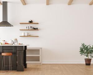 Obraz Wall mockup in loft, kitchen in industrial style ,3d render - fototapety do salonu