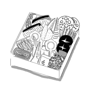 Hand drawn illustration of the Japanese New Year's food, Osechi in simple drawing