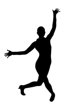 Female Silhouette in Jazz Hands Dance Pose