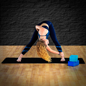 Woman Stretching Prior to Doing Yoga