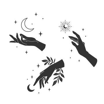 Set of female elegant hands. Trendy celestial magical collection. Boho crescent moons. Vector illustration