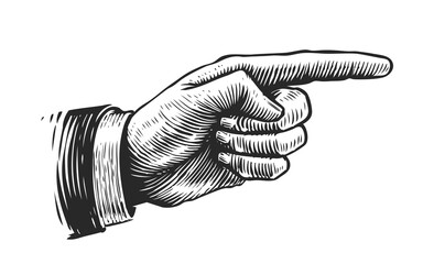 Fototapeta Hand with pointing finger. Illustration drawn in vintage engraving style obraz