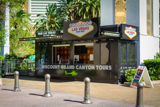 Las Vegas, NV, USA – June 8, 2021: Grand Canyon helicopter tour ticket booth on the Las Vegas Strip in Las Vegas, Nevada.