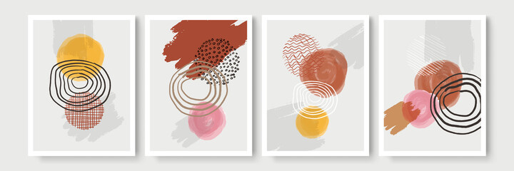 Collection of beige earth tone boho bohemian Scandinavian organic contemporary background set with brush, shape, rainbow. Editable vector illustration for website, invitation, postcard and poster