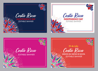 Fototapeta Banners for Costa Rica Independence Day, Annexation of the Nicoya Party, Anexion al Partido de Nicoya, national celebrations, local civic and cultural events with Ox cart designs (Vectors, EPS) obraz