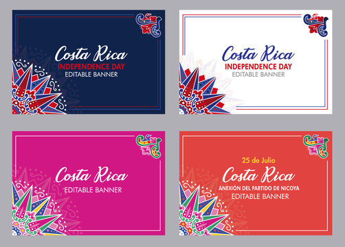 Banners for Costa Rica Independence Day, Annexation of the Nicoya Party, Anexion al Partido de Nicoya, national celebrations, local civic and cultural events with Ox cart designs (Vectors, EPS)