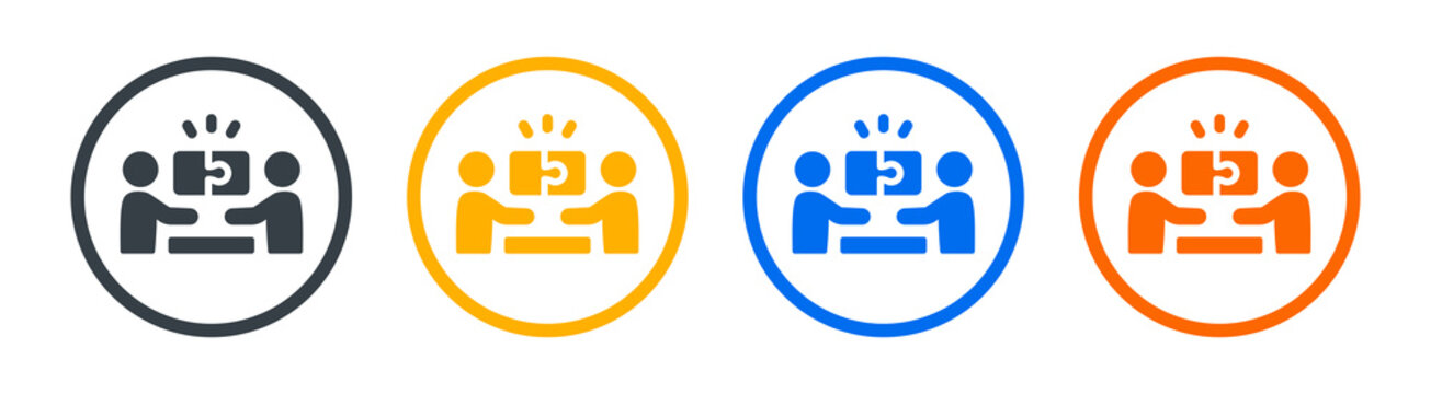 People solve puzzle problem icon. Symbol of Partnership, solution, cooperation.