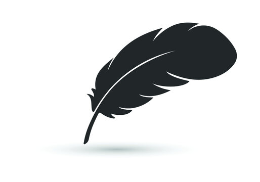 Feather vector icon isolated on white background.