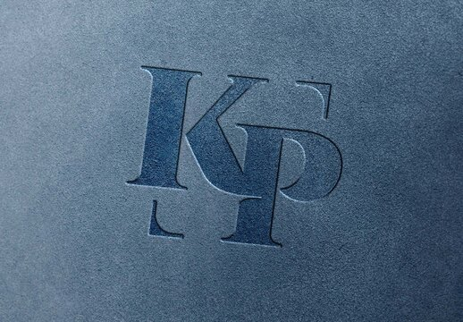 Close Up Leather Pressed Stamping  Logo Mockup