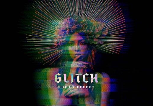Digital Distorted Glitch Photo Effect Mockup