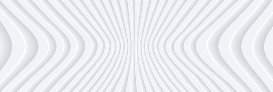 Abstract 3D white wavy background with interesting pattern. Minimalist empty striped blank BG. Halftone monochrome cover with modern elegant minimal color.