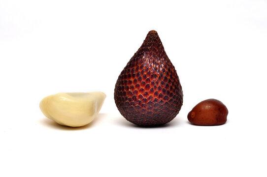 Close-up snake fruit studio shoot white background