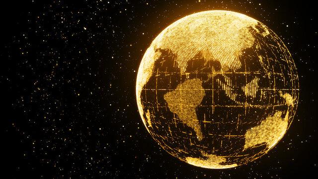 ゴールドの地球。粒子の未来的なサイバー背景
