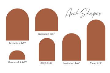 Obraz Arch Shape template, Arch Wedding invitations, laser cut invitation, menu, place card. - fototapety do salonu