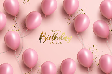 Fototapeta Happy birthday greeting with 3d balloons obraz