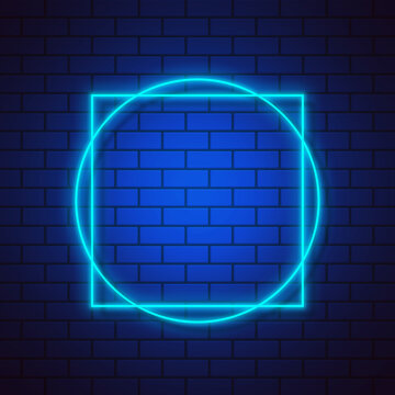 Glowing neon square and circle frame on blue gradient brick wall background