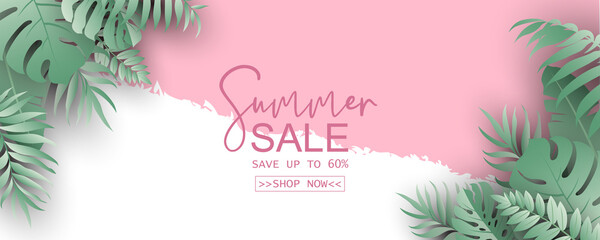 Obraz Summer banner template for advertising summer arrivals collection or seasonal sales promotion - fototapety do salonu