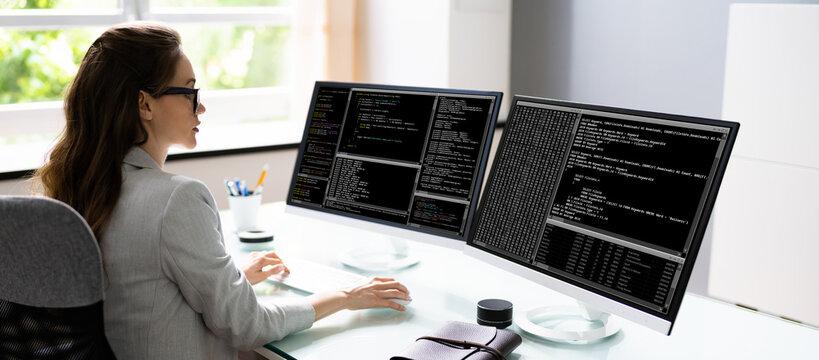 Programmer Woman Coding