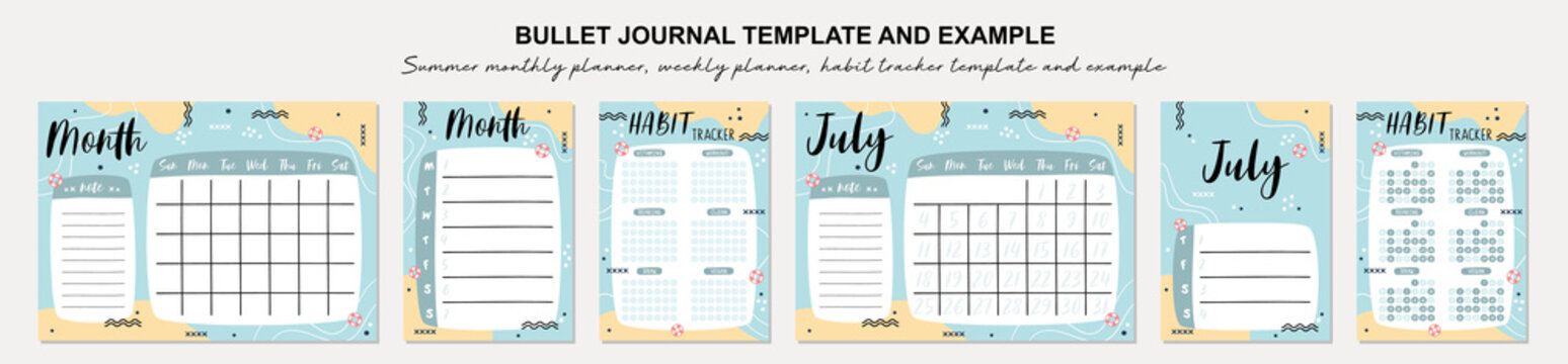Summer monthly planner, weekly planner, habit tracker template and example.  Template for agenda, schedule, planners, checklists, bullet journal, notebook and other stationery.