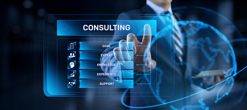 Consulting service business concept. Businessman pressing button on screen.