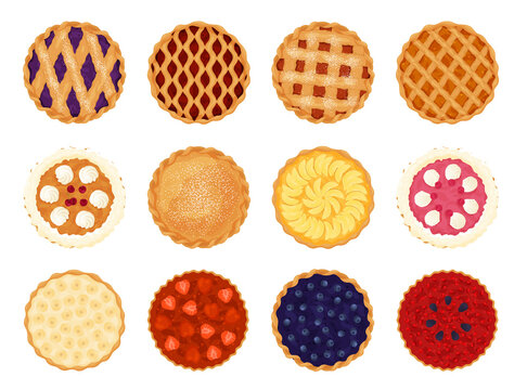 Collection of pies top view vector flat illustration. Set of various whole fresh baking sweet cakes