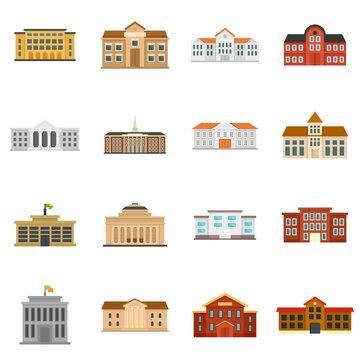 University icons set flat vector isolated