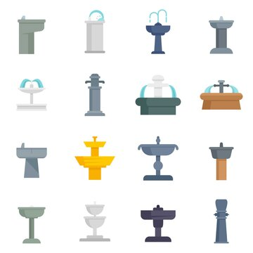 Drinking fountain icons set flat vector isolated