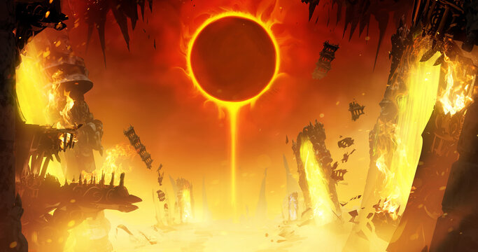 An eclipse of the yellow sun in a hot sky in the middle of the crazy ruins of hell, where fragments of Gothic-style buildings and magical portals to other worlds are scattered. 2d illustration