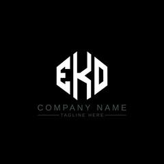 Obraz EKO letter logo design with polygon shape. EKO polygon logo monogram. EKO cube logo design. EKO hexagon vector logo template white and black colors. EKO monogram, EKO business and real estate logo.  - fototapety do salonu
