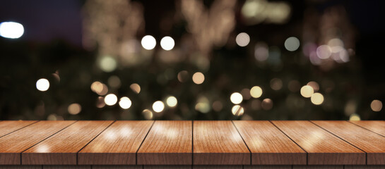 Obraz Empty Wooden Table Top With Lights Bokeh On Blur Restaurant Background. - fototapety do salonu