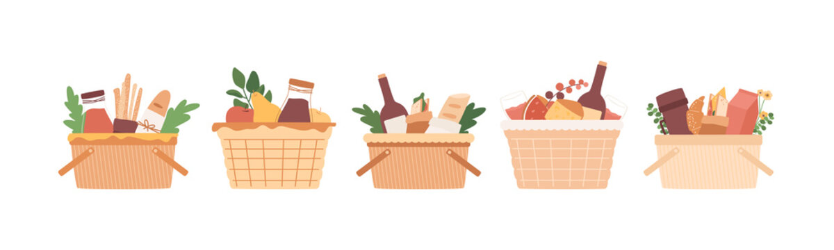 Picnic baskets set. Food in wicker crate. Wine, juice bottle, cheese, fruits, bread sticks and baguette, sandwich, tea in thermos. Lunch, dining in park elements isolated on white background