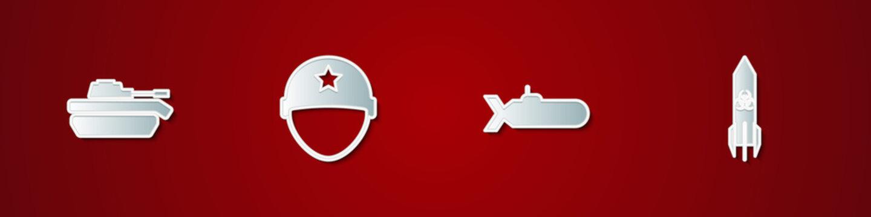 Set Military tank, helmet, Submarine and Biohazard rocket icon. Vector