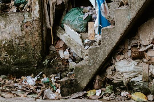 Garbage In The Rocinha Favela In Rio De Janeiro, Brazil