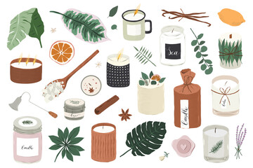 Fototapeta Various soy candles, different scented candles, natural soy wax aromatherapy, handmade candle with essential oils, handdrawn vector illustrations, isolated vector cliparts. obraz