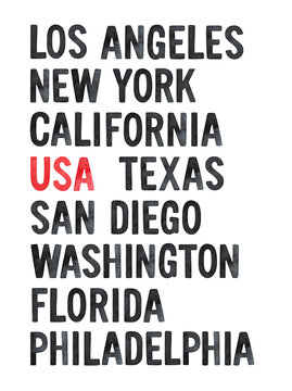 Poster design with largest United States cities and states. Bright illustration for print, greeting card, banner, placard. Hand painted watercolour drawing on white background. Black and red colors.