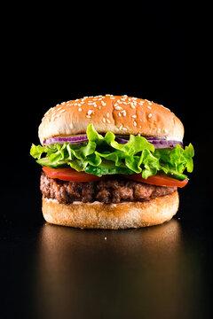 Hot hamburger with green salad, tomatoes, juicy cutlet