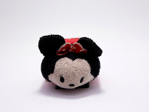 Tsum tsum Minnie Mouse. Mickey Mouse girlfriend. Walt Disney Studios character. Stuffed toy for children. Famous little mouse with a bow on her head. Daisy Duck's friend.