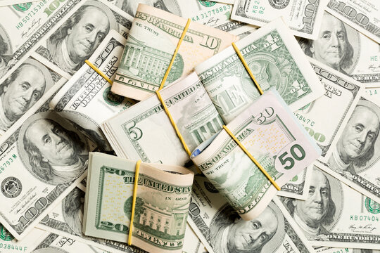 Top View Of Many Dollar Bills Background