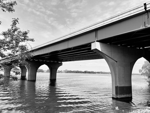 Close Up Of Webster Street Bridge, Highway 172, Over The Fox River  In Green Bay Wisconsin.