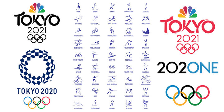 Saint-Petersburg, Russia - June 27, 2021: Vector set of summer sport icons and logos Tokyo Olympic games. Silhouette sport sign collection. Tokyo olympics pictograms indoor and outdoor activities.