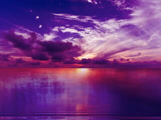 dark lilac night dramatic sky on sunset nebula pink sea water reflection sunlight night dramatic sky on sunset nebula lilac pink sea water reflection sunlight evening summer seascape landscape