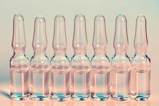 Glass Medical Ampules In Pink And Blue Colors