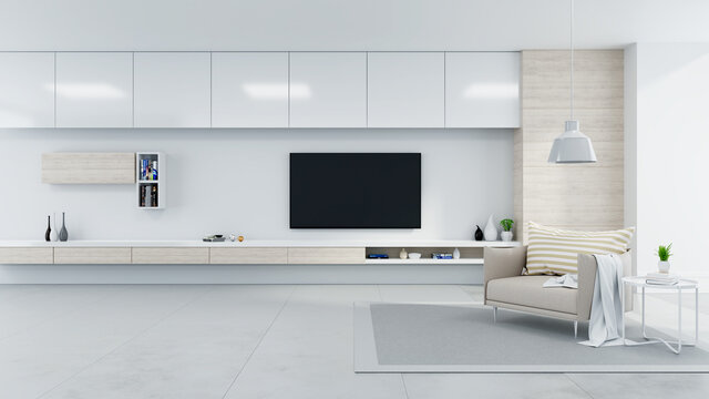 Modern And Minimalist Interior Of Living Room Cozy Concept, Brown Armchair With White Tv Sideboard
